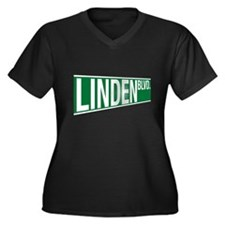 Linden Blvd Women's Plus Size V-Neck Dark T-Shirt
