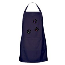 Rainbow Heart Pawprints Apron (dark)