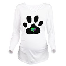 Rainbow Heart Pawpri Long Sleeve Maternity T-Shirt