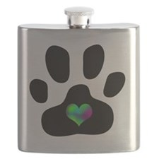 Rainbow Heart Pawprint Flask