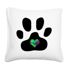 Rainbow Heart Pawprint Square Canvas Pillow