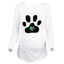 Rainbow Heart Paw Pr Long Sleeve Maternity T-Shirt