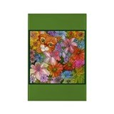 Cat Among the Flowers Rectangle Magnet