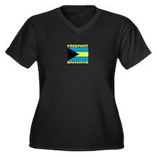 Freeport, Bahamas Flag Women's Plus Size V-Neck Da