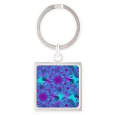 Abstract Purple and Aqua Pattern Square Keychain