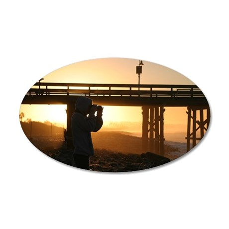 Photographer At Sunset 35x21 Oval Wall Decal