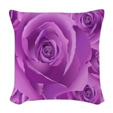 Lavender Roses Woven Throw Pillow
