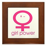 Girl Power Wink Framed Tile