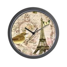 Vintage French Eiffel Tower with bird Wall Clock