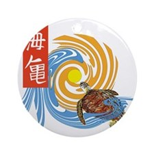 SEA TURTLE IN JAPANESE Round Ornament