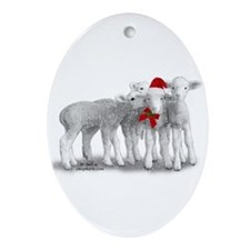Christmas Hat Lambs Ornament (Oval)
