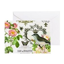 Vintage French shabby chic bird with Greeting Card