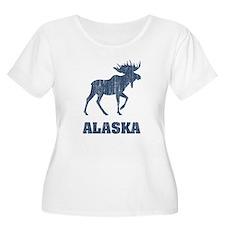 Retro Alaska Moose Plus Size T-Shirt