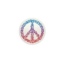 Floral Peace Symbol Mini Button