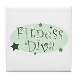 """Fitness Diva"" [green] Tile Coaster"