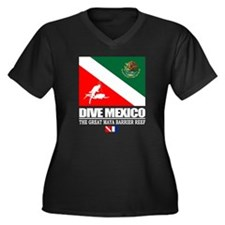 Dive Mexico Women's Plus Size Dark V-Neck T-Shirt
