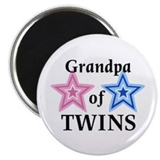 "Grandpa of Twins (Girl, Boy) 2.25"" Magnet (100 pac"