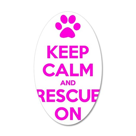 Hot Pink Keep Calm And Rescu 35x21 Oval Wall Decal