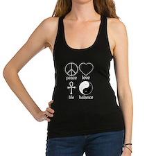 Peace Love Life Balance square II.png Racerback Ta
