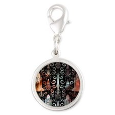 Rocket Science Damask Silver Round Charm