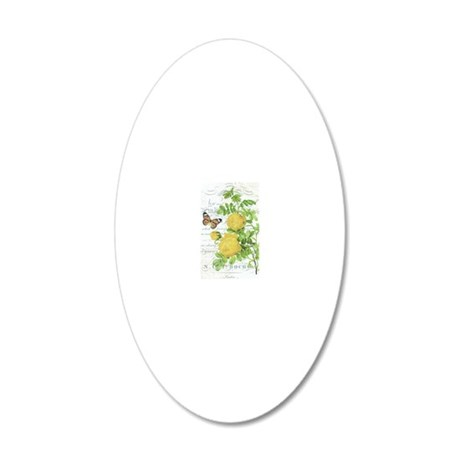 Vintage French botanical yel 20x12 Oval Wall Decal