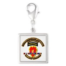 Army - 25th ID w Afghan Svc Silver Square Charm