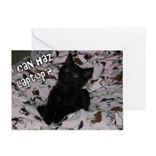 I can haz laptop? Greeting Card