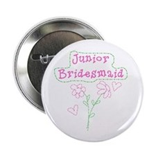 Pink Flowers Junior Bridesmaid Button