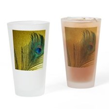 Glittery Gold Peacock Drinking Glass