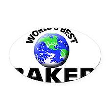 World's Best Baker Oval Car Magnet
