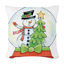 Cartoon Christmas Snow Globe S Woven Throw Pillow