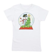Cartoon Christmas Snow Globe Snowman Tr Girl's Tee