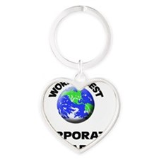World's Best Corporate Librarian Heart Keychain