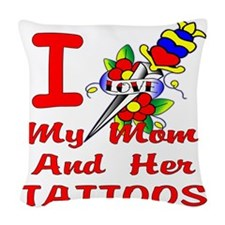 blk_I_Heart_My_Mom_Tattoos_02 Woven Throw Pillow