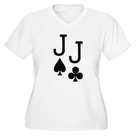 Pocket Jacks Poker Women's Plus Size V-Neck T-Shir