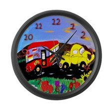 Yellow truck and Vintage Camper Large Wall Clock