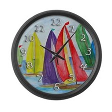 Colorful Regatta Sails Large Wall Clock