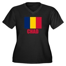 Chad Flag Women's Plus Size V-Neck Dark T-Shirt
