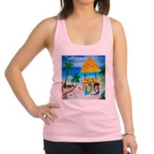 Mermaid Tiki Sunset Wine Bar Racerback Tank Top