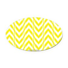 Chevron Zig Zag Pattern Yellow Oval Car Magnet