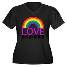 loveoneanoth Women's Plus Size Dark V-Neck T-Shirt