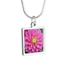 Pink Dahlia Silver Square Necklace