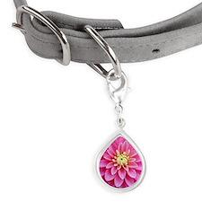 Pink Dahlia Small Teardrop Pet Tag