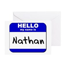 hello my name is nathan  Greeting Cards (Package o