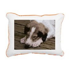 Sleeping Borzoi Puppy Rectangular Canvas Pillow