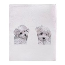 Bichon Frise flip flops Throw Blanket