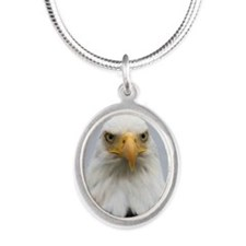 Comox Valley Eagle Silver Oval Necklace