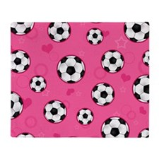 Cute Soccer Ball Print - Pink Throw Blanket