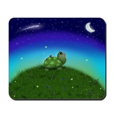 Turtle Moon and Stars (wb) Mousepad