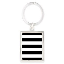 Chic Black and White Stripes Portrait Keychain